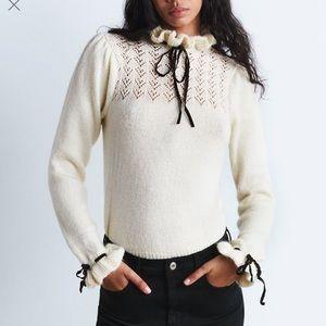 Zara knit ecru puff sleeve sweater with bows sz S